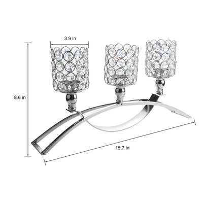 Three Crystal Candlesticks Candle Holders Silver - MYTONSEE