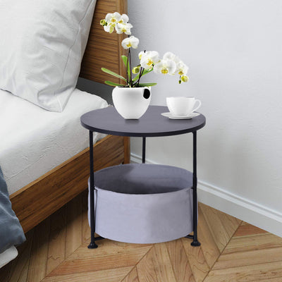 Round Wood Side Table with Fabric Storage Double/Three Layer - MYTONSEE