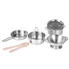 7Pcs Stainless Steel Pots Pans Kids Pretend Play Cookware - MYTONSEE