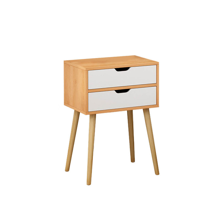 Double Drawer Nightstand With Solid Leg - MYTONSEE