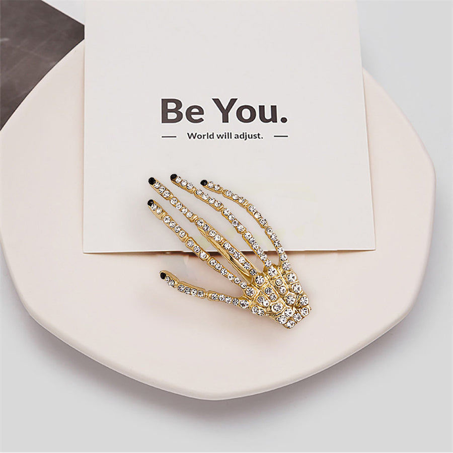 Fashion New Women Diamond Skull Hand Double Hairpin(50% off today)