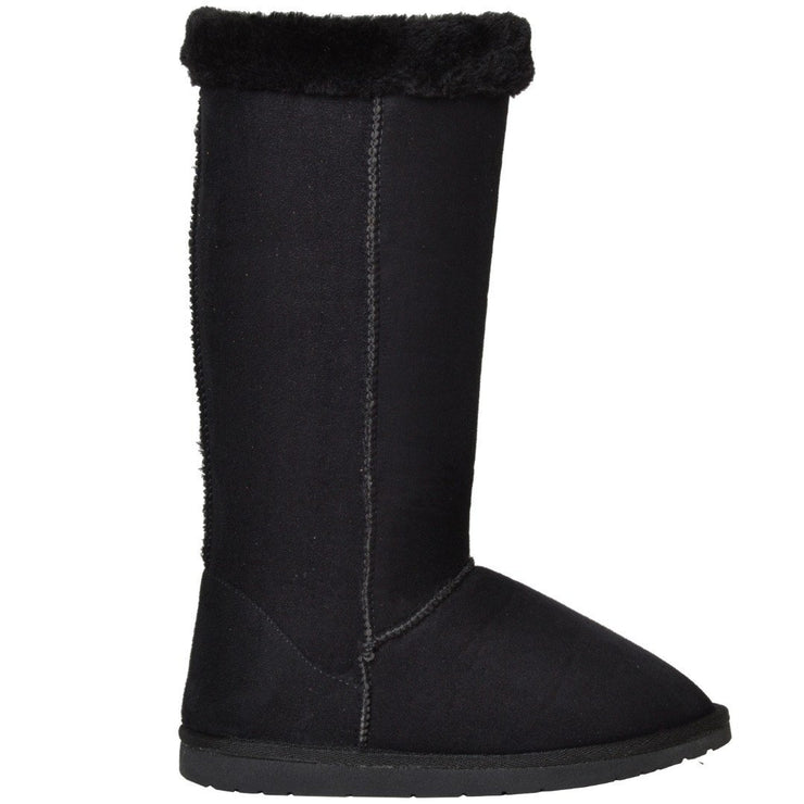 Womens Mid Calf Boots Fur Cuff Trimming Casual Pull on Shoes Black - Asalee West™