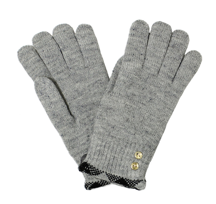 Women Plaid Trimmed Gold Button Gloves Lined - Asalee West™