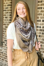 Mamba Beauty Snakeskin Scarf in Taupe - Asalee West™