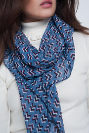 Blue Colored Scarf With Print - Asalee West™