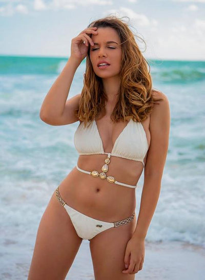 June Strappy Triangle Top & Tango Bottom - White - Asalee West™