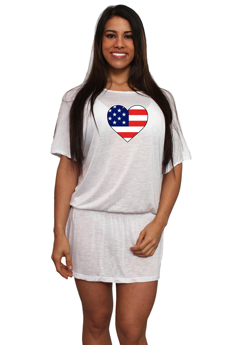 Women's USA Flag Heart Waist Band Dress Swimwear Cover-Up - Asalee West™