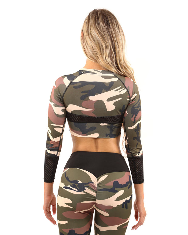 Virginia Camouflage Set - Leggings & Sports Bra - Brown/Green