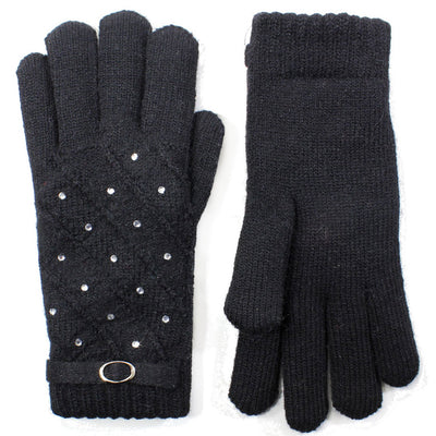 Women Rhinestone Studded Gloves Lined - Asalee West™