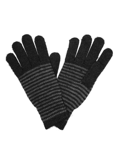 Black Unisex Striped Gloves Angora and Wool Blend - Asalee West™