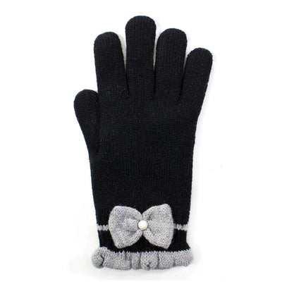 Womens Faux Pearl Bow Gloves Lined - Asalee West™