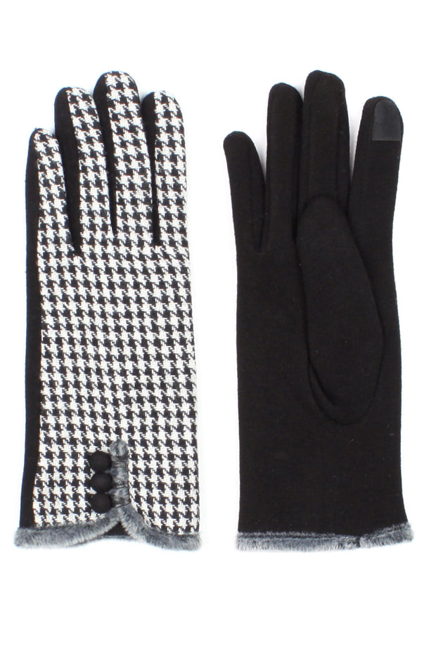Womens Houndstooth Lined Texting Gloves - Asalee West™