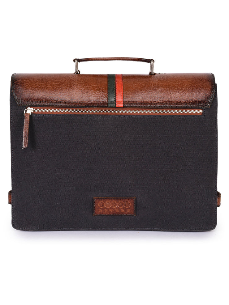 Phive Rivers Men's Leather and Canvas Charcoal and Tan Laptop Bag - Asalee West™