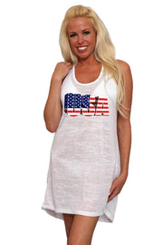 Women's USA Flag 3D Burnout Tank Dress Swimwear Cover-Up - Asalee West™