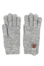 Womens Textured Winter Knit Gloves With Button Accent Fleece Lined - Asalee West™