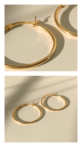18k gold plated sterling silver hoops
