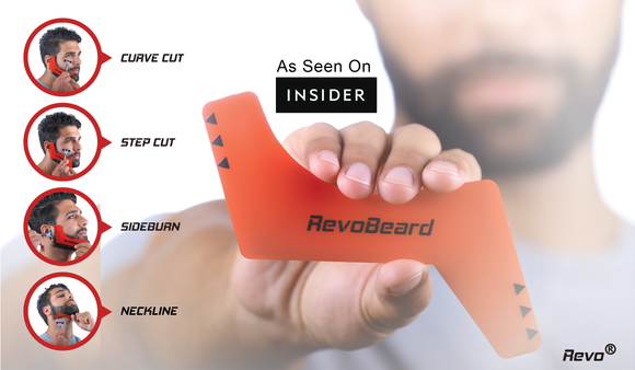 RevoBeard is a beard template stencil guide edge up tool. The curve cut step cut side burns are all functions of this beard styler. trimmer razor or blade will work with the tapered edges. Save money at the barber and time. Revo products grooming.