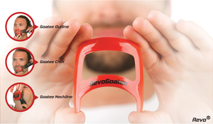 revogoatee is a goatee beard mustache template stencil tool used to guide you when you are shaving trimming your facial hair. Revo. Save money and time at the barber. one size fits all. universal and compatible with everyone. hair cut style styling groom
