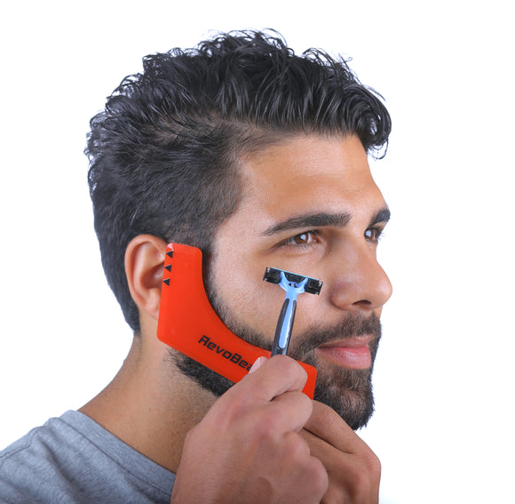 revobeard revohair revogoatee beard goatee hair haircut styles styler tool guide stencil outline template edge up barber barbershop tools. man men boy male handsome. razor blade trimmer trim groom grooming straught edge curve cut step cut neckline. facial line up earline taper line side part save money time