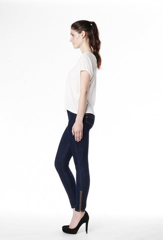 High Rise Skinny Ankle Zip Yoga Jeans in Rinse Indigo