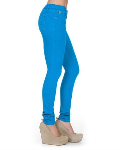 High Rise Skinny Yoga Jeans in Icy Blue