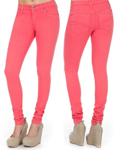 Yoga Jeans Mid Rise Skinny in Watermelon