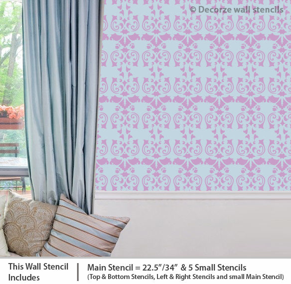 Damask wall Stencils USA