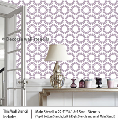 beautiful flower stencils room USA