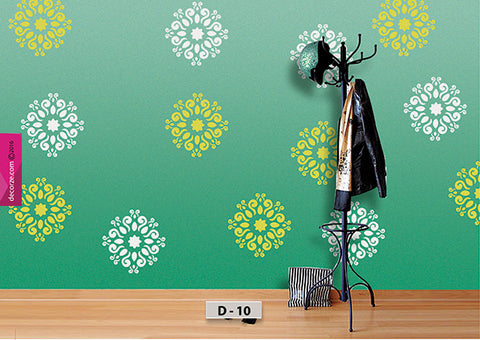 Small motif, DIY wall decor ideas, wall painting designing ideas using stencil, D-10