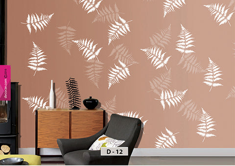 Leaf painting on wall, Leaf Wall Painting design and ideas, Leaf Stencil for wall, D-12