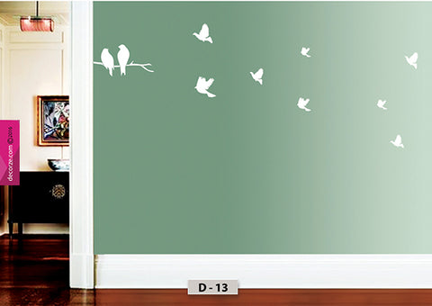 Love birds wall painting design, Birds Flying painting on wall, tree branch birds wall painting, D-13