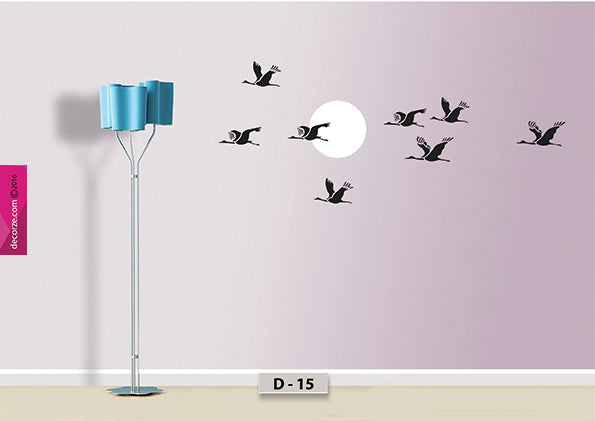 Moon with birds design paint on wall,  birds flying painting on wall, moon and birds flying design on wall, D-15