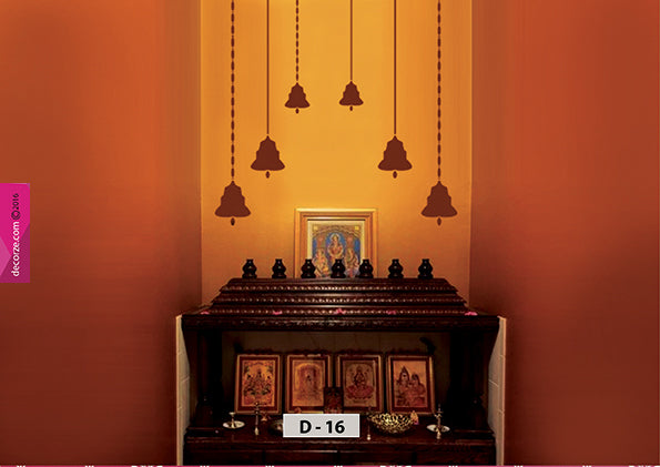 Pooja room decorating ideas, Pooja room bell and chain art on wall painting, Pooja room painting ideas. D-16