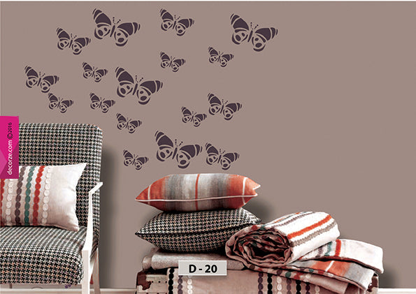 Butterfly stencils are easy and inexpensive to texture paint and wallpaper, Butterfly design Stencil, D-20