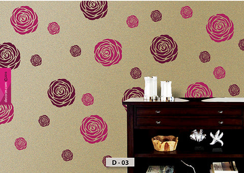Wall designs for wall painting ideas, rose design for wall painting, D-03