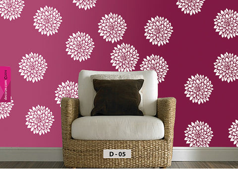 Dahlia flower painting on wall, dahlia flower ideas, dahlia flower painting on wall, D-5