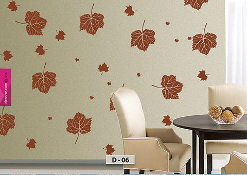 maple leaves design on wall, maple leaves stencil, maple leaves painting ideas, D-06