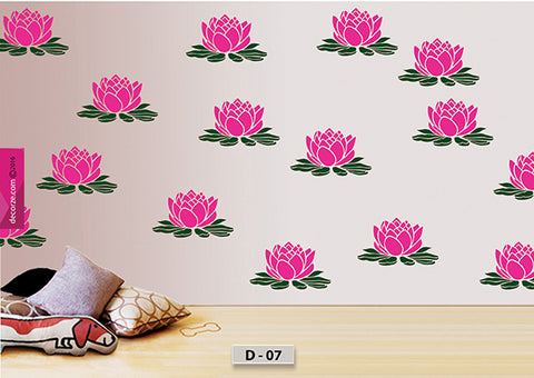 Beautiful lotus flower design stencil, lotus flower painting on wall, lotus flower stencil, D-07