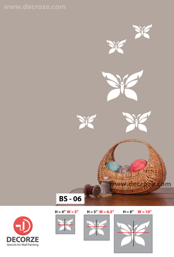 Wall covering with best butterfly stencil designs,BS-06 - Decorze