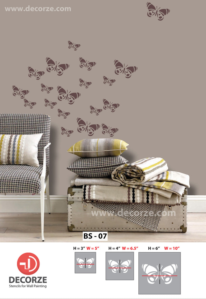 Beautiful designs and butterfly stencils for wall BS-07 - Decorze