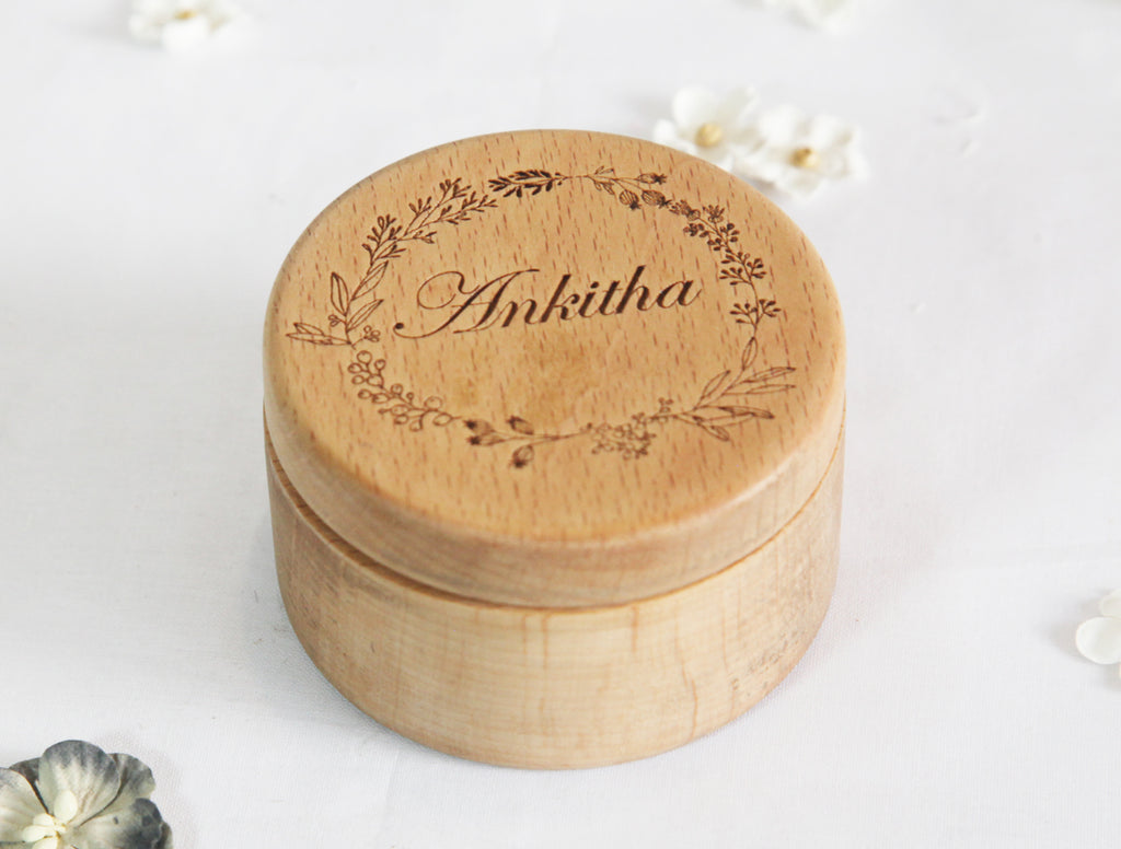 Wooden Ring Gift Box Engraved Art Customize