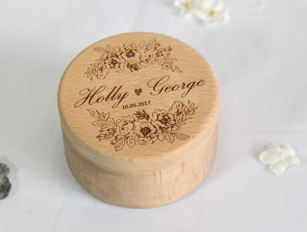 Customize wooden Ring Gift Box Engraved Art