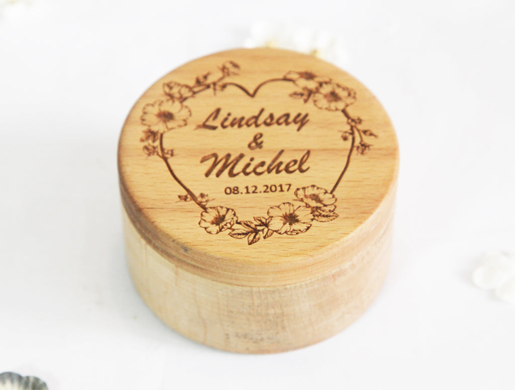 Wooden Ring Box Engraved Art Customize