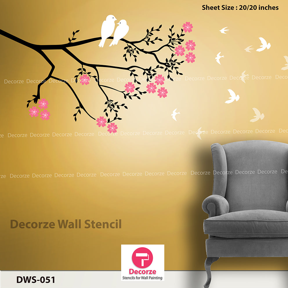 Beautiful Tree Branch Stencil Living Room Wall Painting Ideas Dws 051 Reusable Wall Painting Stencils