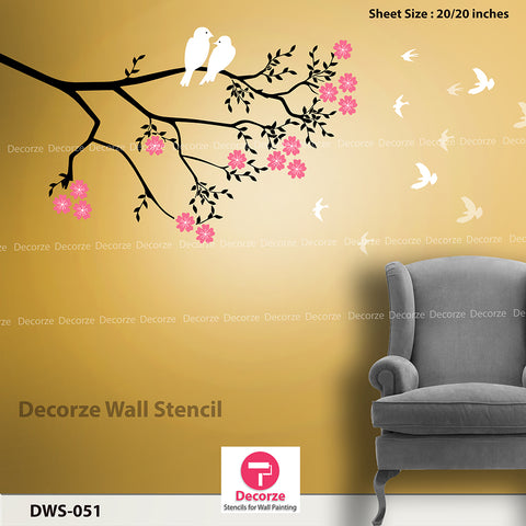 Beautiful Tree branch Stencil | Living Room Wall Painting Ideas  - DWS-051