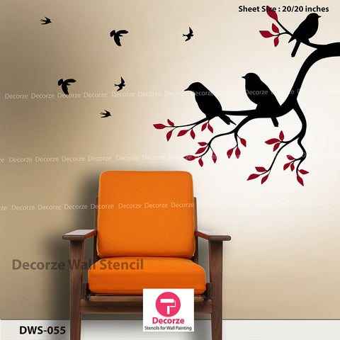 Tree branch stencils | Living room wall painting | Wall Painting Designs | Painting Ideas DWS-55