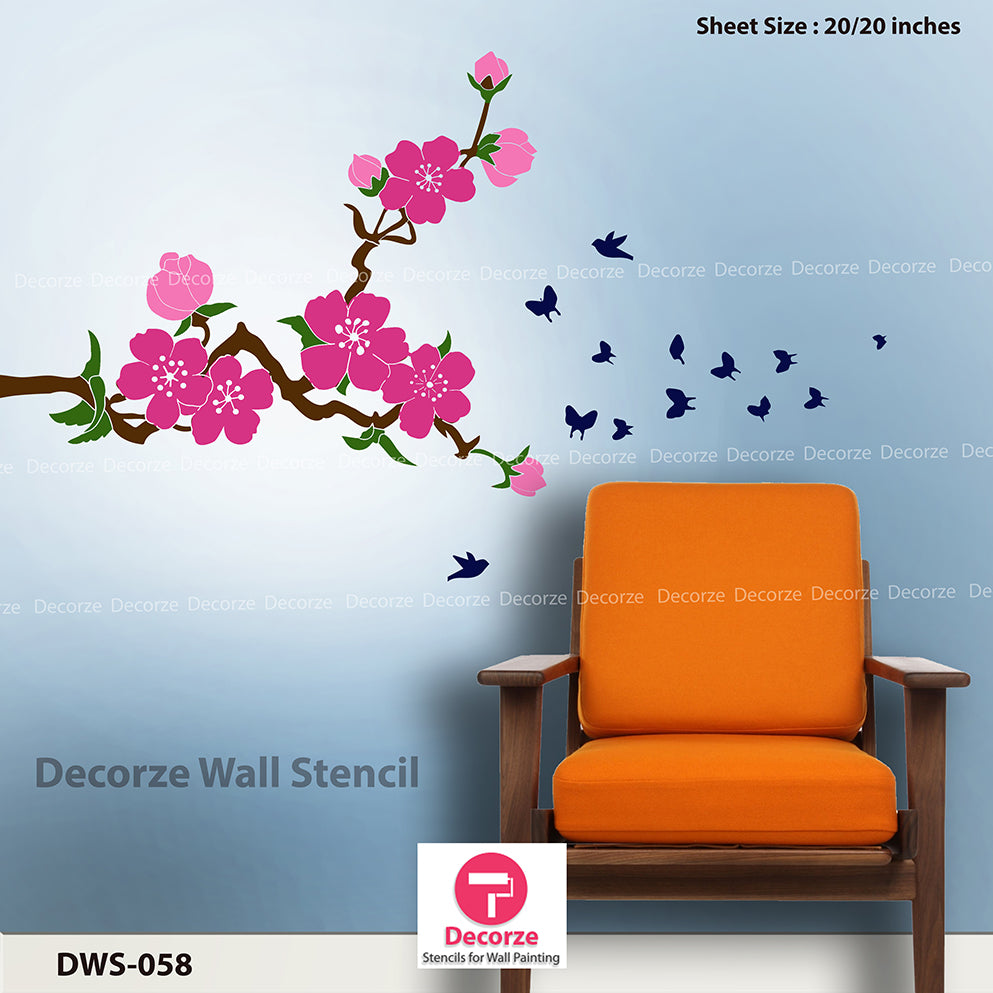 Flower stenciling for wall painting | Wall Painting Designs | Painting Ideas DWS-58