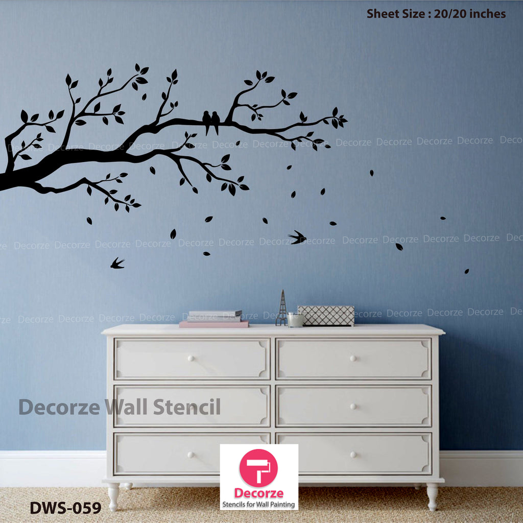 Leaves with branch stencil painting ideas | Wall Painting Designs | Painting Ideas DWS-59