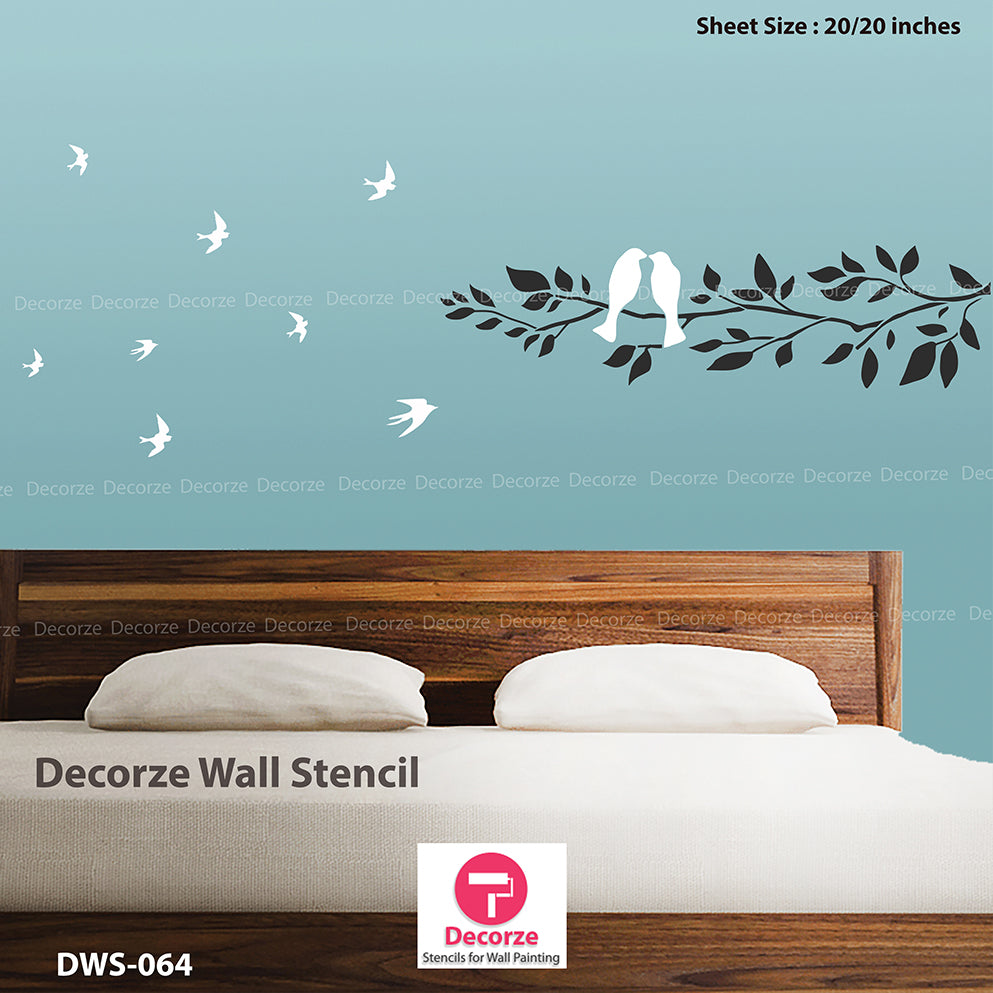 Bedroom wall painting ideas | tree branch stencils | Wall Painting Designs | Painting Ideas DWS-64