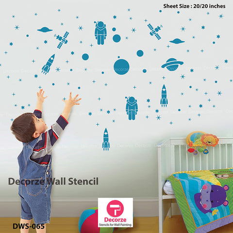 Space stencils | inspire wall painting ideas | Kids room wall painting ideas | Wall Painting Designs | Painting Ideas DWS-65